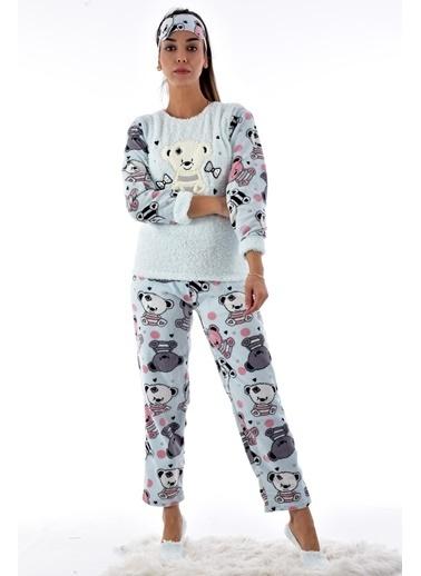 Pemilo Kadın 4120-33 Polar Pijama Takımı PUDRA Mavi